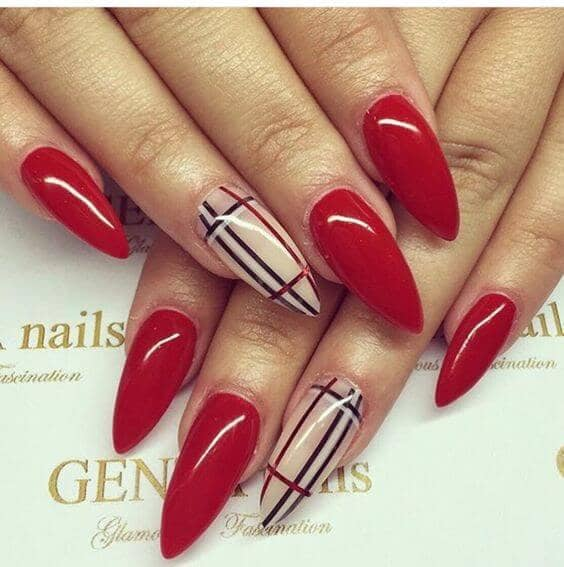 Classic Red Coffin Shaped Nails