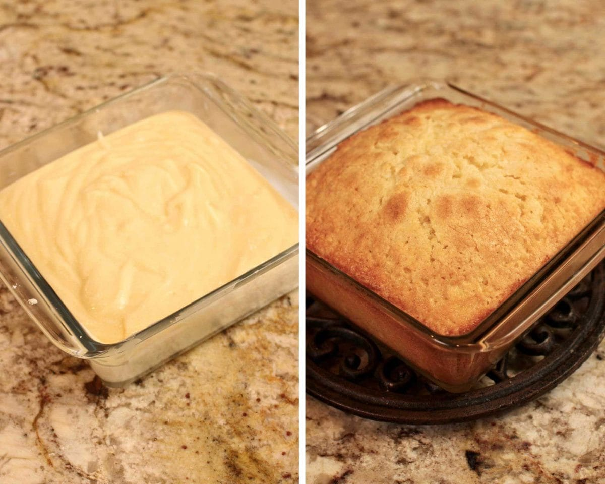 an unbaked yellow cake next to a baked cake.