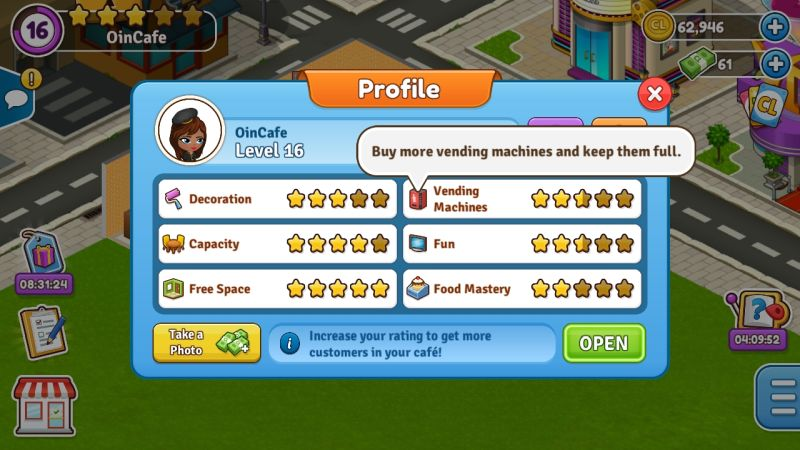 how to get a good cafe rating in cafeland