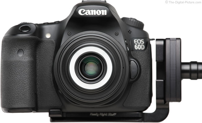 Canon EF-S 35mm f/2.8 Macro IS STM Lens Front View on Camera