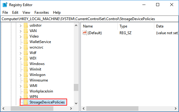 Create new key in registry to remove write protection