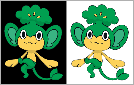 [Pictured: The same Pansage, with some linework missing. It