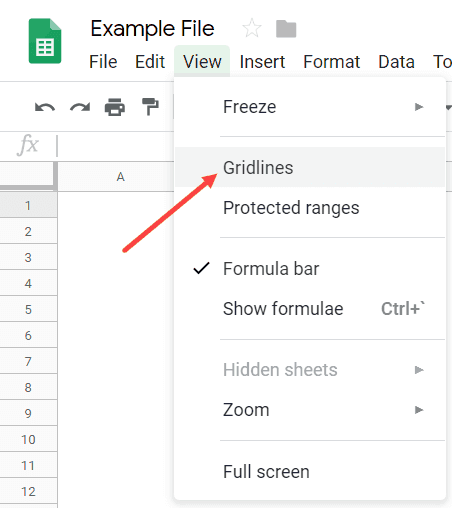 Show or Hide Gridlines by using the option in the menu
