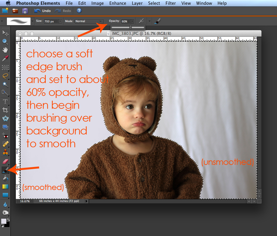 Photo of baby girl in photoshop elements: choose a soft edge brush and set to about 60% capacity, then begin brushing over background to smooth - left side of photo background is smoothed, right side isn