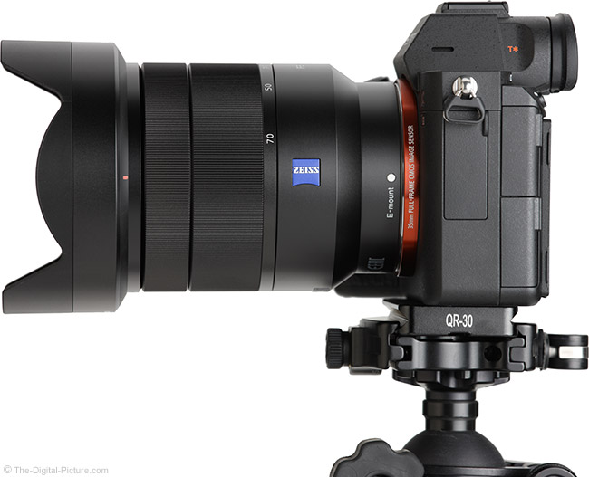 Sony FE 24-70mm f/4 ZA OSS Lens Side View with Hood