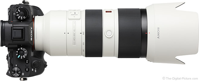 Sony FE 70-200mm f/2.8 GM OSS Lens Top View with Hood