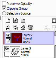 [Pictured: Showing a layer with the Clipping Group option selected in SAI, and the layer underneath.]